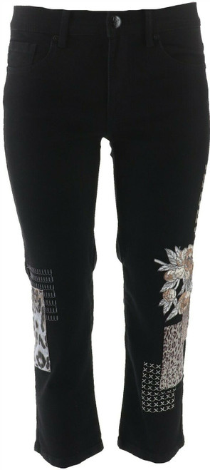 DG2 Diane Gilman Stretch Embroidered Cropped Jean Basic BLACK 6 NEW 654-662