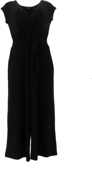 G Giuliana Cropped Knit Jumpsuit BLACK S Tall NEW 695-571