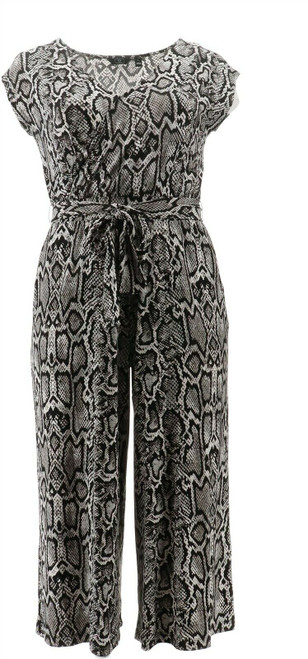 G Giuliana Cropped Knit Jumpsuit Black Snake S Tall NEW 695-571