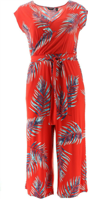G Giuliana Cropped Knit Jumpsuit Red Palm L Avg NEW 695-571