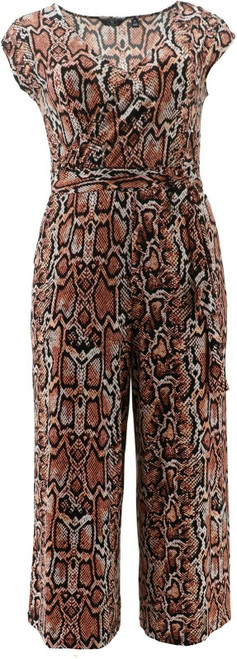 G Giuliana Cropped Knit Jumpsuit Baked Clay Snake L Petite NEW 695-571