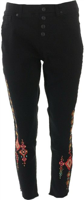 DG2 Diane Gilman Embroidered Pull-On Exposed Button Jean BLACK M NEW 700-270