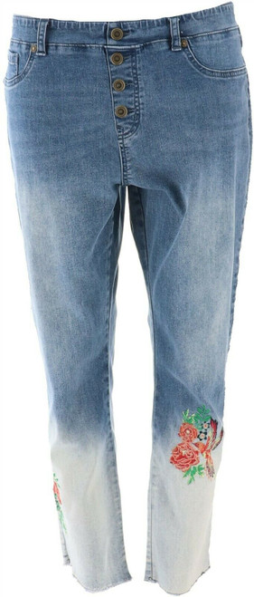 DG2 Diane Gilman Embroider PullOn Button Jean Ombre Midtn Tall L NEW 700-270