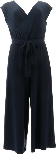 G Giuliana Cropped Knit Jumpsuit NAVY XL Avg NEW 695-571