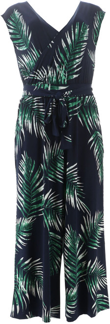 G Giuliana Cropped Knit Jumpsuit Navy Palm S Avg NEW 695-571