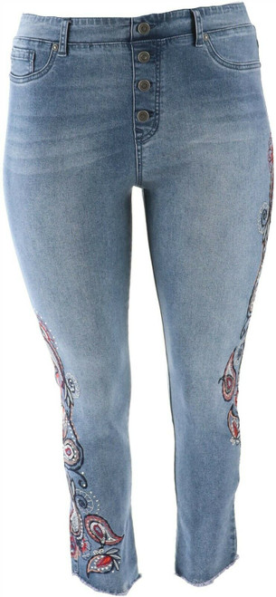 DG2 Diane Gilman Embroidered Pull-On Exposed Button Jean Midtone XS NEW 700-270