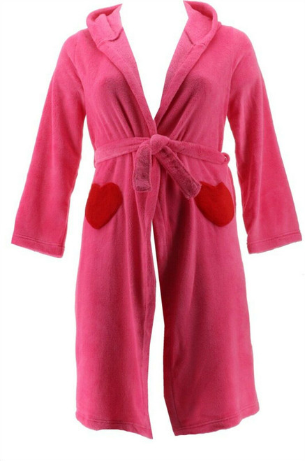 Lands' End G FLEECE SOLID ROBE Rich Red 14 NEW 475280