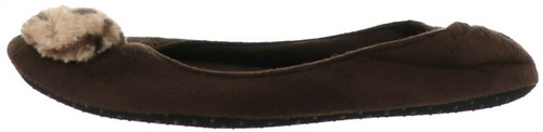 Dennis Basso Faux Suede Slipper Faux Fur Trim NEW H203461