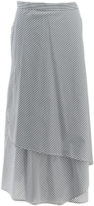 GILI Petite Striped Wrap Front Maxi Skirt NEW A266250