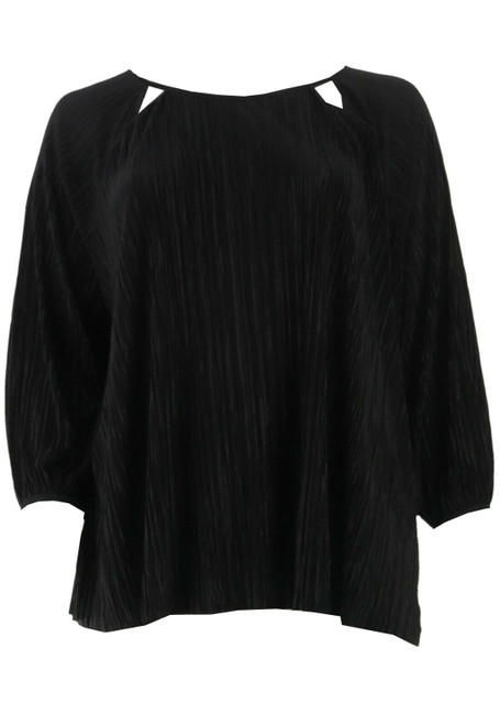 Halston Knit Plisse 3/4-Sleeve Scoop-Neck Top NEW A305348