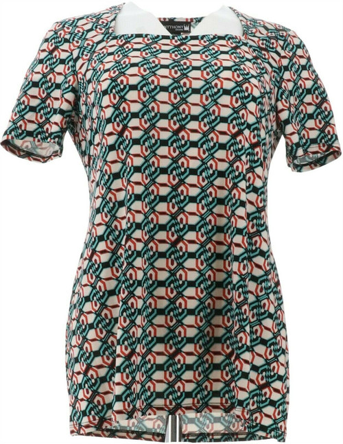 Antthony Culturally Styled Printed Short-Slv Top NEW 657-786