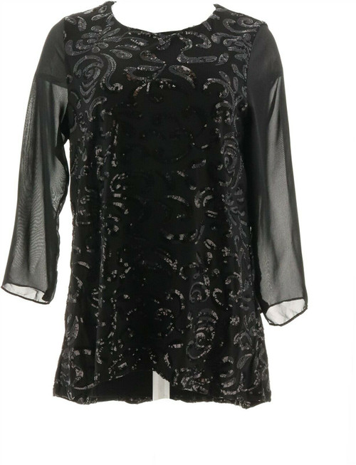 Slinky® Brand 3/4-Slv Embroidered Sequin Tunic NEW 682-448