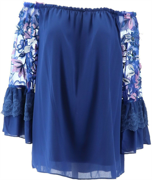 Colleen Lopez Off-Shoulder Embroidered Slv Blouse NEW 671-567