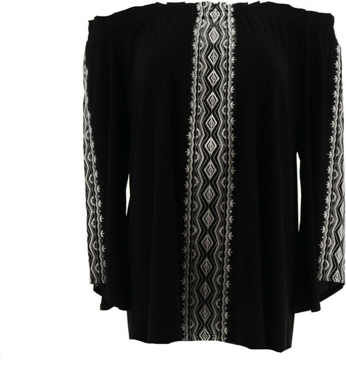 Slinky Brand On Off Shoulder Embroidered Tunic NEW 672-743