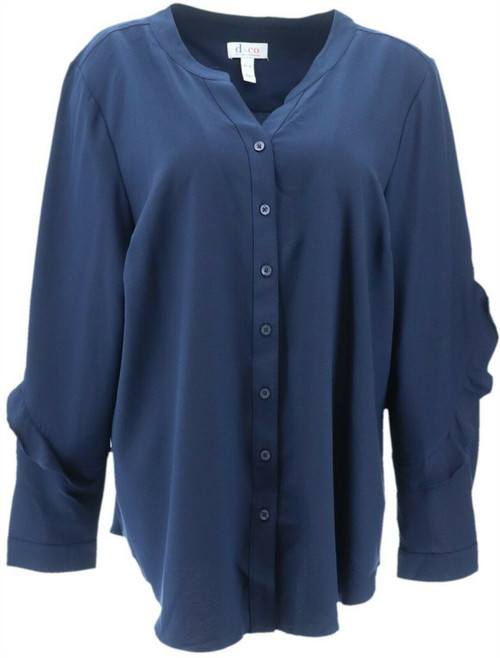 Denim& Co Button Front Stretch Woven Top Ruffle NEW A347261