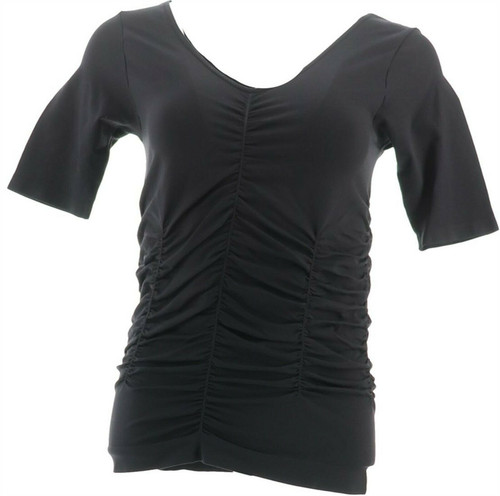Legacy Conceal It Solid Ruched Half Slv Tee NEW A262886