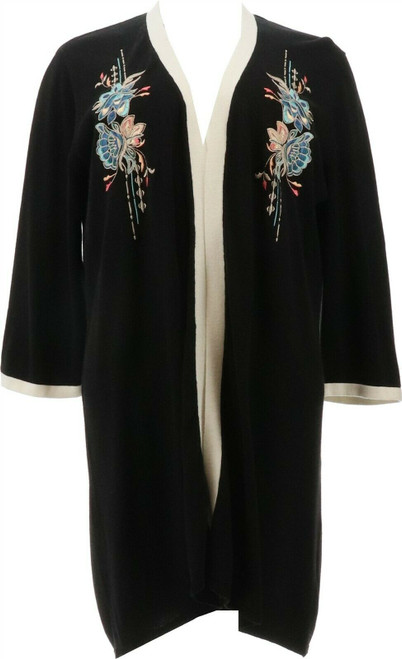 Jamie Gries Embroidered Floral Kimono Cardigan NEW 643-020