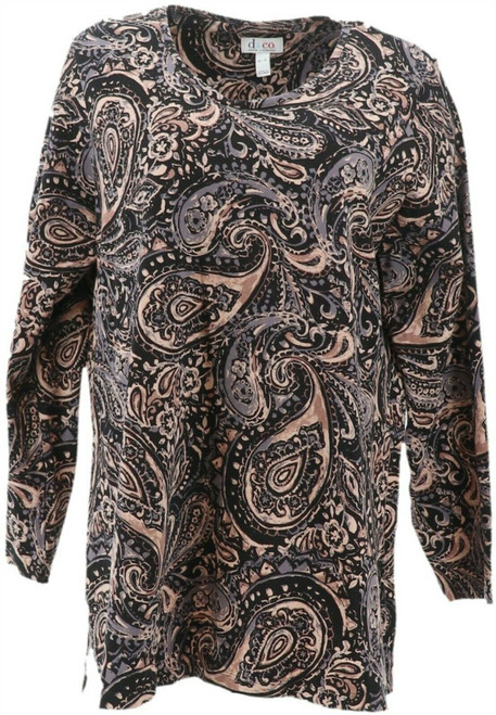 Denim& Co Perfect Jersey Long-Sleeve Printed Tunic NEW A344105