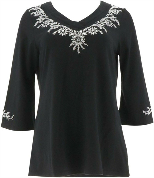 Belle Kim Gravel Embroidered 3/4 Slv Tunic NEW A291186