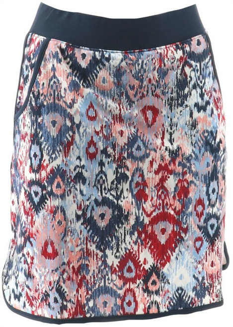 Denim & Co Active French Terry Ikat Printed Skort NEW A288710