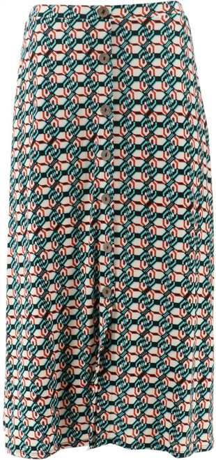 Antthony Culturally Styled Printed Button-Up Skirt NEW 657-787