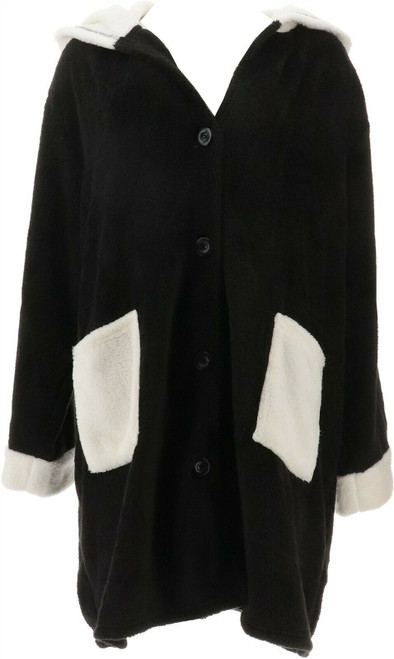 Soft Cozy Hooded Button Front Robe Pockets NEW 663-020
