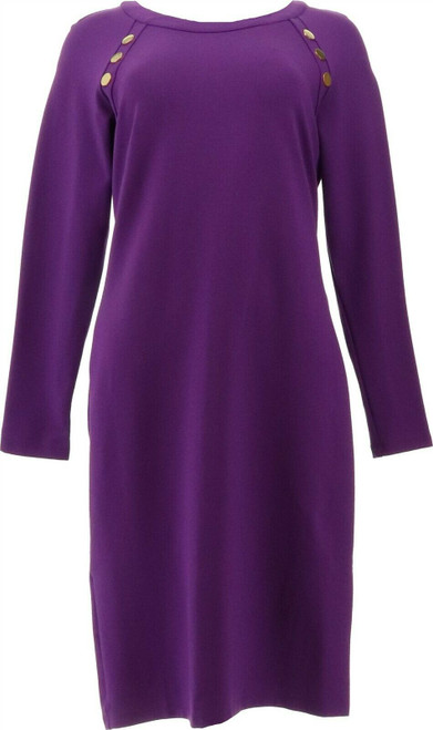 IMAN Global Chic Fitted Ponte Dress Button NEW 713-080