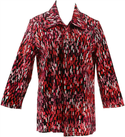 Slinky® Brand Printed Travel Stretch Collared Jacket NEW 660-662