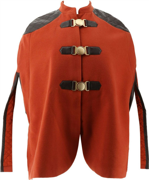 GILI Buckle Front Cape Faux Leather Trim NEW A269864