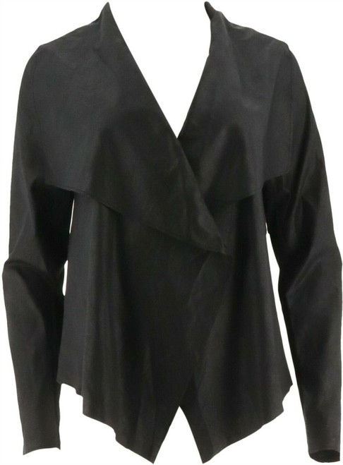 Lisa Rinna Collection Drape Front Faux Suede Jacket NEW A278933