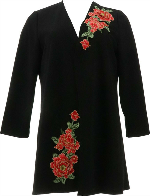 Slinky® Brand Luxe Crepe Duster Floral Applique NEW 652-650