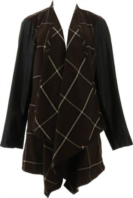 Lisa Rinna Collection Open Plaid Jacket Faux Suede A299563