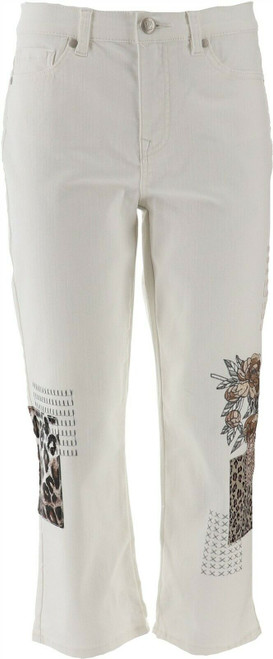 DG2 Diane Gilman Stretch Embroidered Cropped Jean NEW 654-679