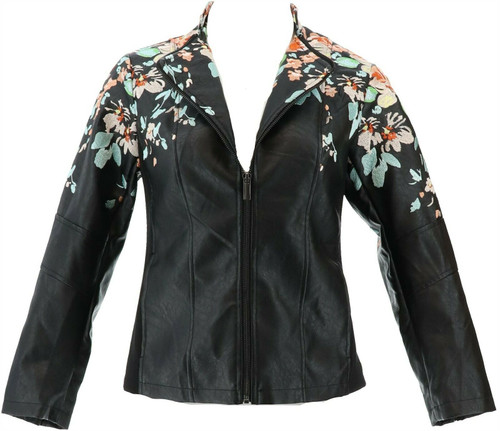 Colleen Lopez Embroidered Faux Leather Jacket NEW 638-980