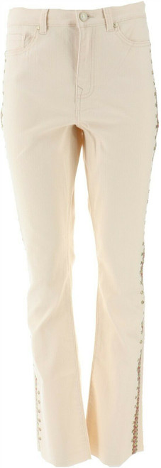 DG2 Diane Gilman Embroidered Studded Boot-Cut Jean NEW 696-855