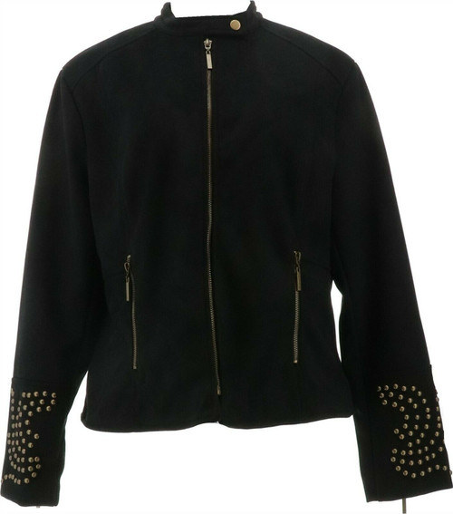 Curations Studded Faux Suede Jacket NEW 625-444