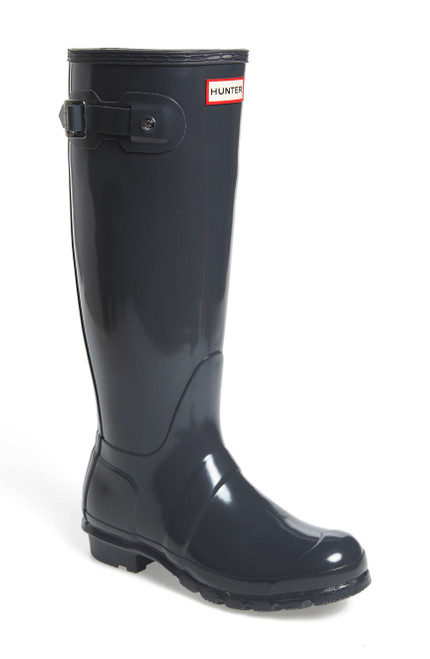 Hunter Original High Gloss Waterproof Boot 9 DARK SLATE NEW