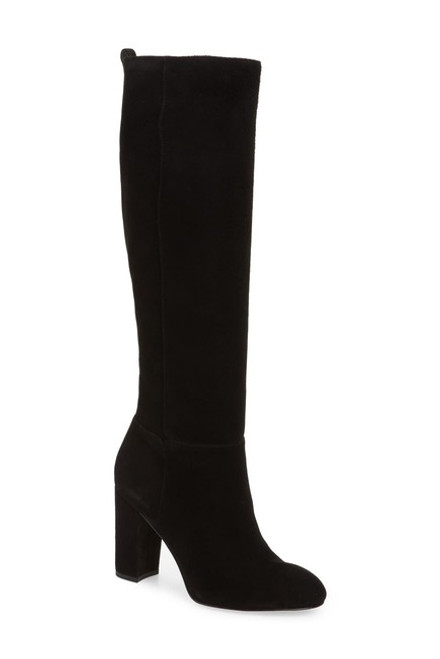 Sam Edelman Caprice Suede Knee-High Boot 6M Black NEW
