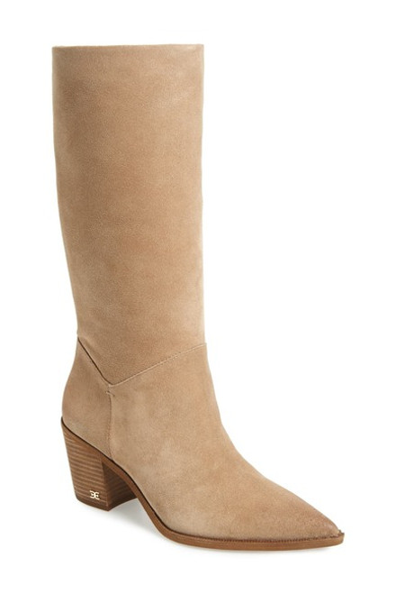 Sam Edelman Leahla Block Heel Boot 5M Oatmeal NEW