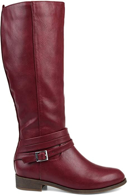 Brinley Co. Comfort Womens Strap Riding Boot 8W Wine NEW