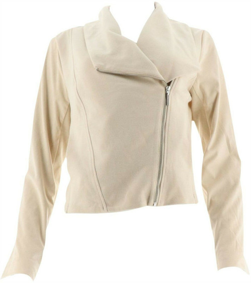 Halston Faux Suede French Terry Zip Front Jacket NEW A281244