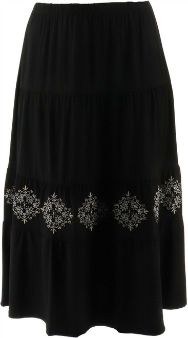 Antthony Elda Collection Embroidered Tiered Maxi Skirt NEW 638-558