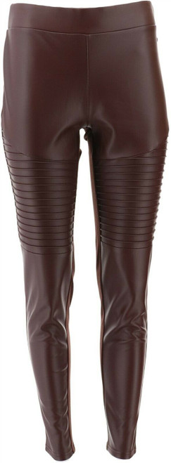 DG2 Diane Gilman Faux Leather Ponte Moto Legging NEW 679-863