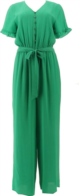 CeCe Ruffle Slv Belted Jumpsuit NEW 692-068