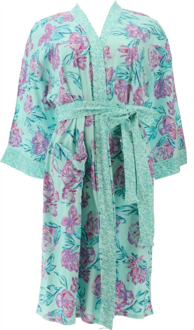 Aria Printed Jersey Short Wrap Robe Pockets NEW 636-987