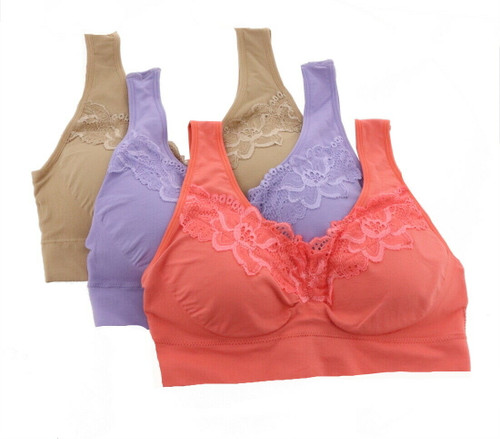 Rhonda Shear 3Pc Bra Lace Removable Pads NEW 652-745