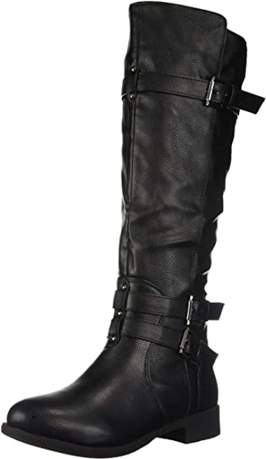 Brinley Co Women's Buffalo Knee High Boot 6.5 Black NEW