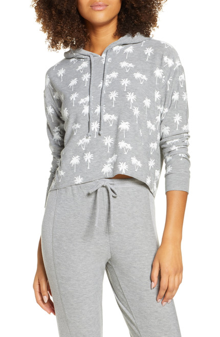 Chaser Palm Trees Crop Hoodie S Heather Grey NEW
