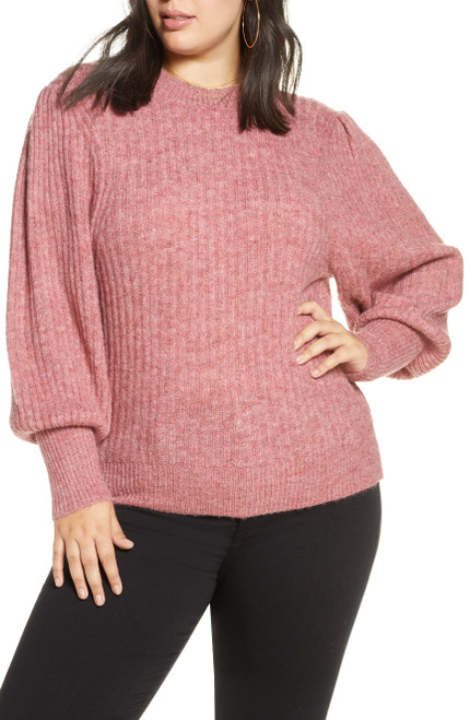 Leith Ribbed Puff Shoulder Sweater 4X Red Chili NEW