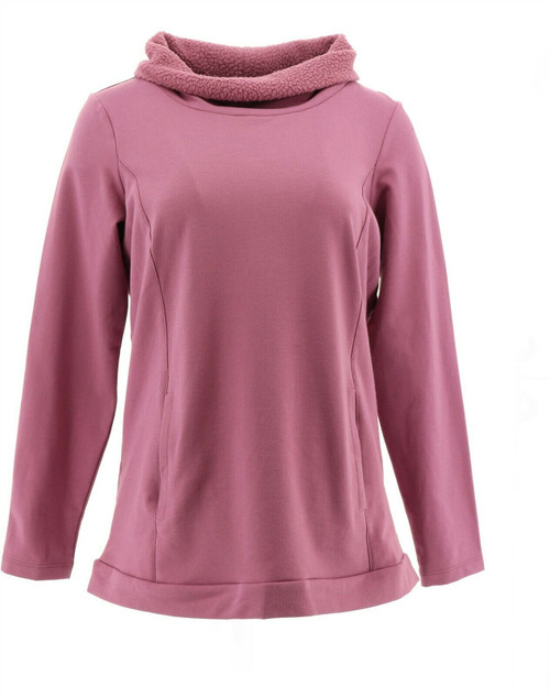 Denim& Co Active French Terry Top Sherpa Collar NEW A345238